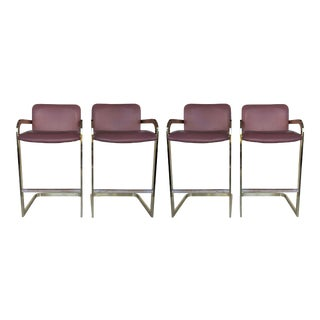 1980s Brass and Leather Bar Stools - 2 Pairs For Sale