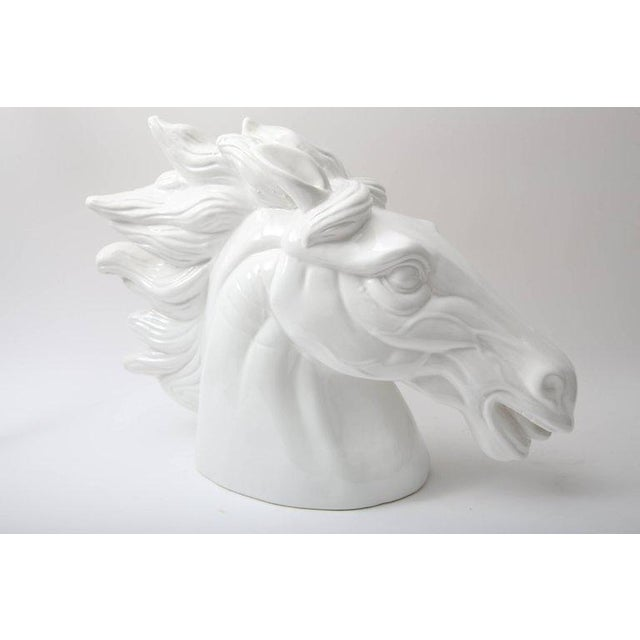 Late 20th Century Late 20th Century Monumental Italian White Horse Head Sculpture For Sale - Image 5 of 10