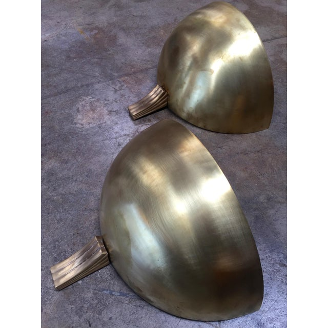 1960s 1960s Italian Half Moon in Brass Wall Lights - a Pair For Sale - Image 5 of 9