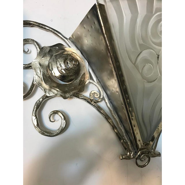 Pair of French Art Deco Wall Sconces by Degue - Image 4 of 9