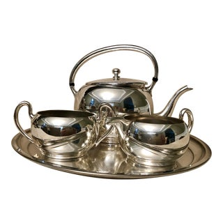 1990s Vintage Silver-Plated Tea Coffee Serving Set - 4 Pieces For Sale