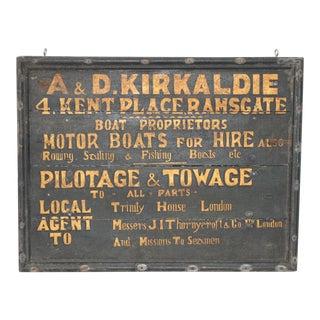 19th Century British Boat Proprietor Hand Painted Sign