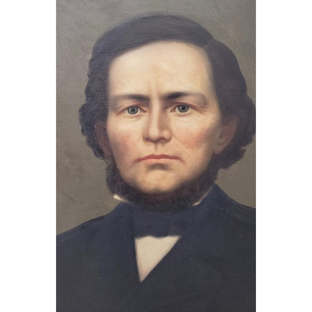 American Classical Mid 19th Century American Male Portrait Oil Painting For Sale - Image 3 of 11
