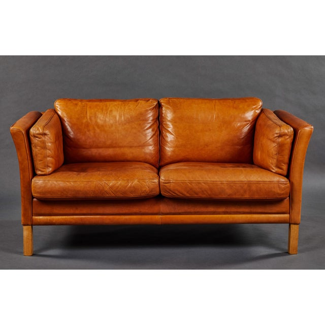 Animal Skin A Rich Leather Scandinavian Settee For Sale - Image 7 of 7