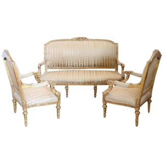 20th Century Italian Louis XVI Style Gilded Wood Living Room Set or Salon Suite For Sale