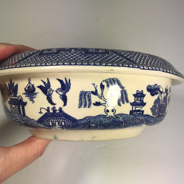 Ceramic Vintage Blue Willow Warmer For Sale - Image 7 of 10