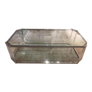 Vintage Glass and Brass Cocktail Table, C.1970 For Sale