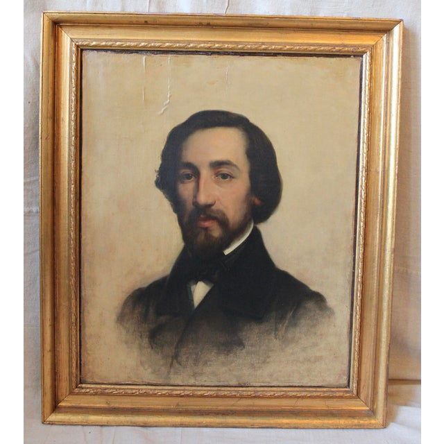 Circa 1844, oil on canvas, portrait of French poet Alfred de Musset by Antoine Placid Glibert (1806-1876), gilt frame,...