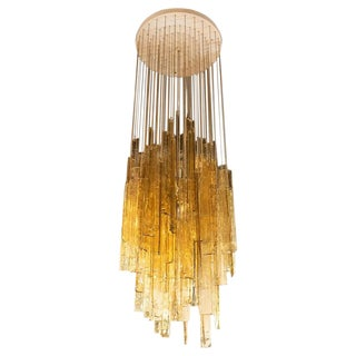 "Mid-Century Modern Rectilinear Handblown Smoked Amber Glass ""Mosaic"" Chandelier by Mazzega For Sale"
