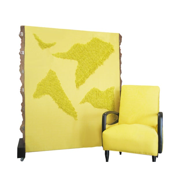 Contemporary Fabric Covered Wheeled Room Divider For Sale - Image 3 of 6