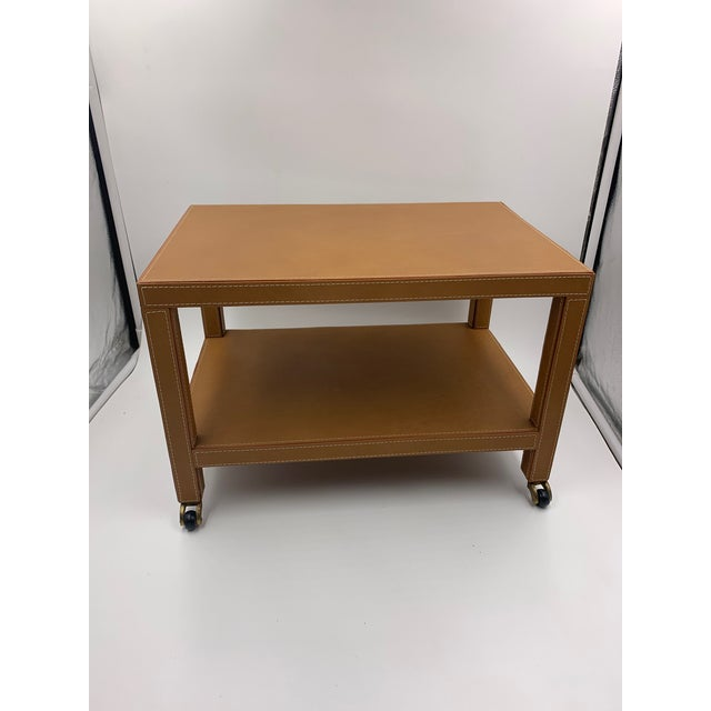 Two Tier Dimuntive Leather Trolley on Casters For Sale - Image 4 of 10