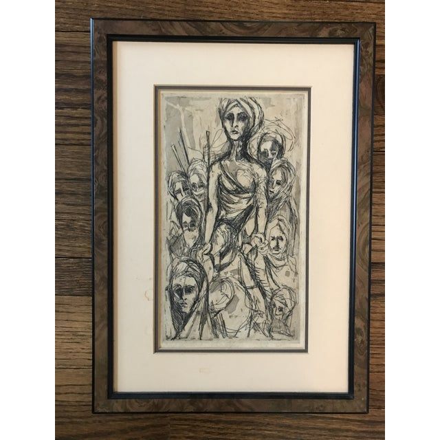 White Mid Century Etching of People For Sale - Image 8 of 8