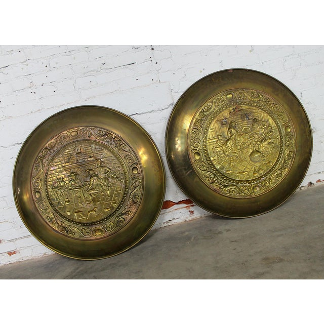 Peerage Brassware Decorative Embossed English Wall Plates - a Pair For Sale - Image 11 of 11