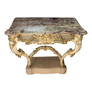 19th Century French Rococo Style White Console Table For Sale