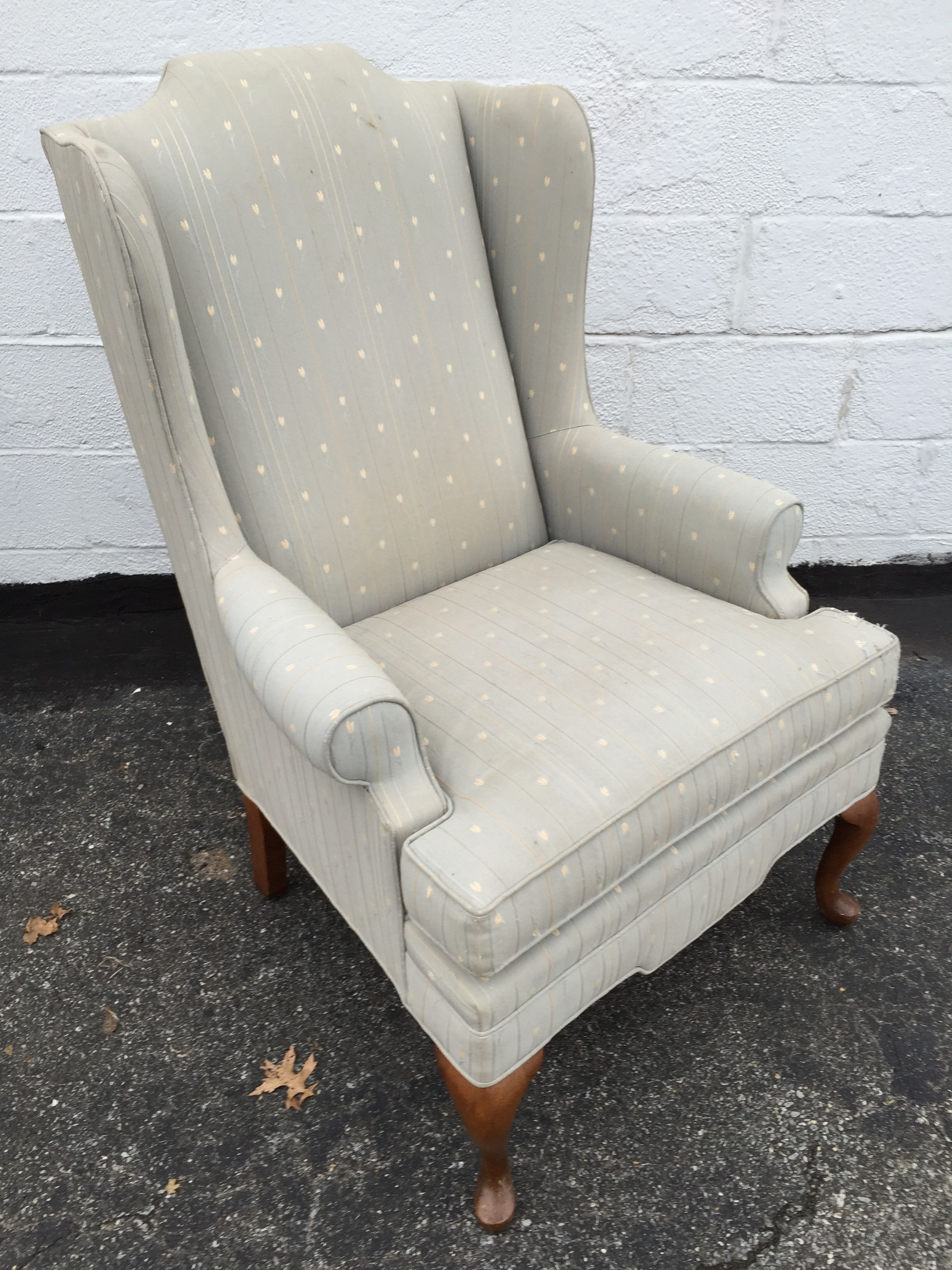 Vintage Upholstered Grey Wingback Armchair   Image 4 Of 8
