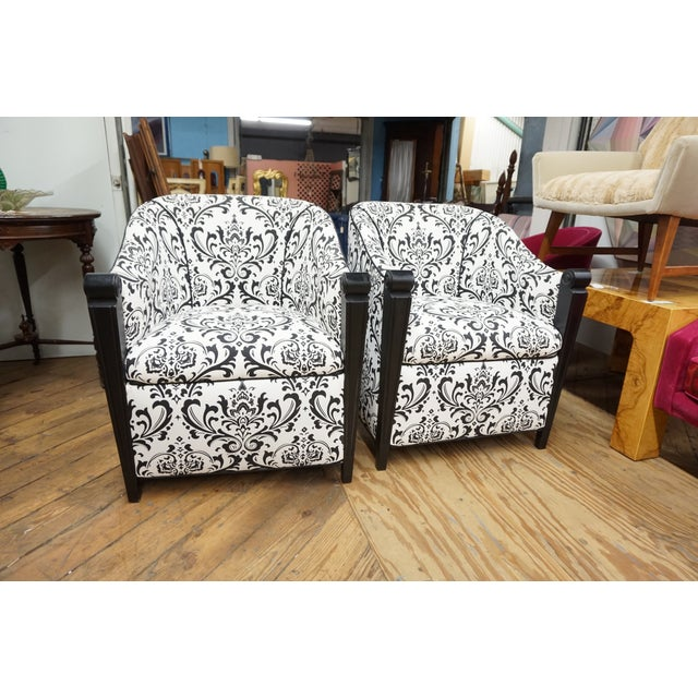 Black & White Art Deco Style Club Chairs - A Pair - Image 10 of 10