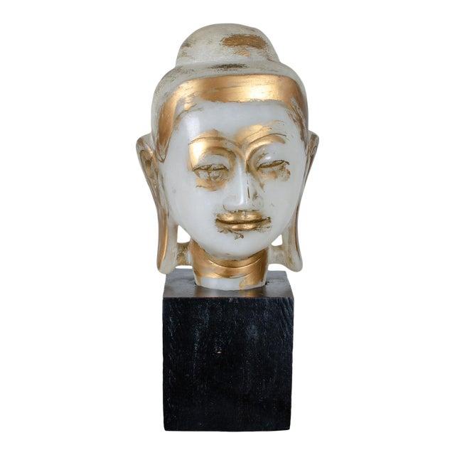 Mandalay Alabaster Shakyamuni Buddha Sculpture For Sale