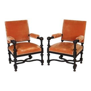 19th Century Napoleon III Orange Upholstery Arm Chairs - a Pair