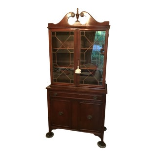 MId Century Modern Mahogany Hutch (Bookshelf, China Cabinet ) With Glass Doors For Sale