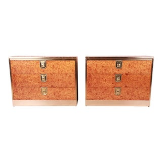 Mastercraft Burl, Rosewood, and Brass Bedside Chests, Circa 1970s For Sale