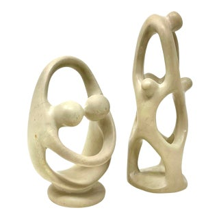 Mid-Century Modern Abstract Carved Soapstone Sculptures - Set/2 For Sale