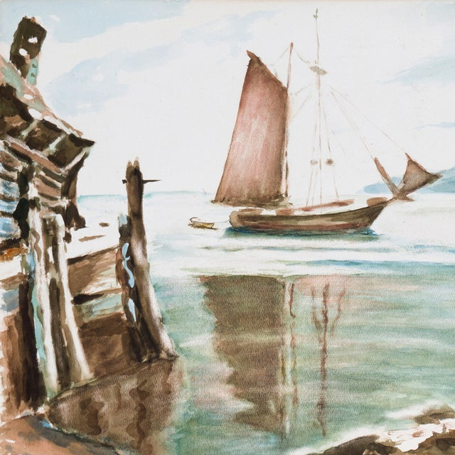 A large vintage watercolor of a wooden dock at the edge of protected bay with a schooner anchored in calm waters. Signed...