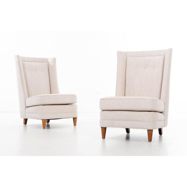 Brown and Saltman Paul Laszlo High-Back Lounge Chairs For Sale - Image 4 of 12