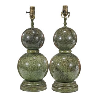 Modern Designer Green Majolica Pottery Gourd Form Table Lamps - A Pair For Sale