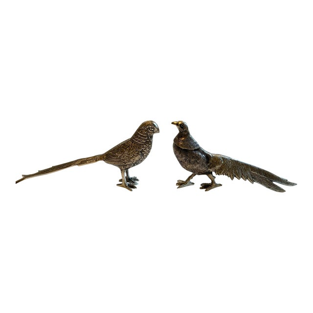 Birds Silver Figurines - A Pair For Sale
