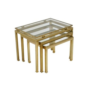French Mid Century Brass and Glass Nesting Tables by Guy LeFevre For Sale
