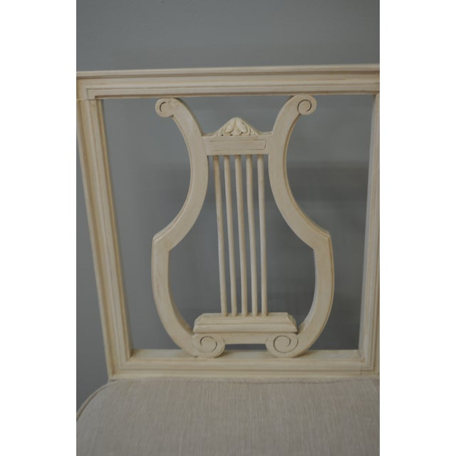 Gustavian Style Painted Lyre Back Dining Chairs With Cane Seat & Linen Seat Cushions - Set of 6 For Sale - Image 4 of 9