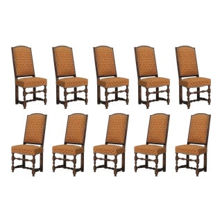 Antique French Oak Dining Table Chairs - Set of 10 For Sale