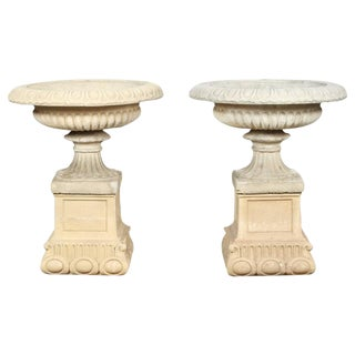 Pair of English Garden Urns For Sale