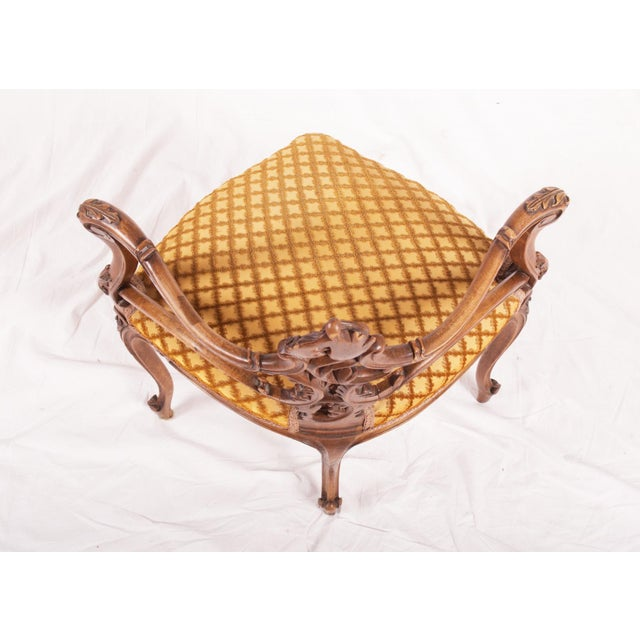 Brown Carved Louis XV walnut corner chair, France, 1870 For Sale - Image 8 of 11