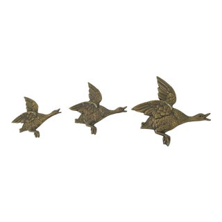 Large Vintage Mid Century Brass Three Flying Geese Wall Sculpture For Sale