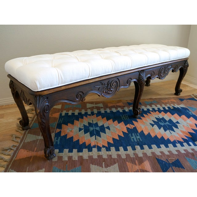Vintage Carved Wood Button Tufted Bench - Image 6 of 7