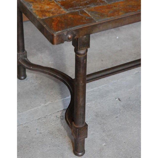 Jacques Adnet French Mid-Century Slate Coffee Table For Sale - Image 5 of 7