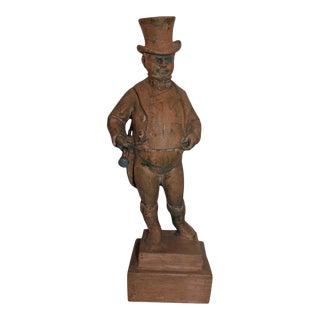 Hand Carved Wood Folk Sculpture of John Bull For Sale