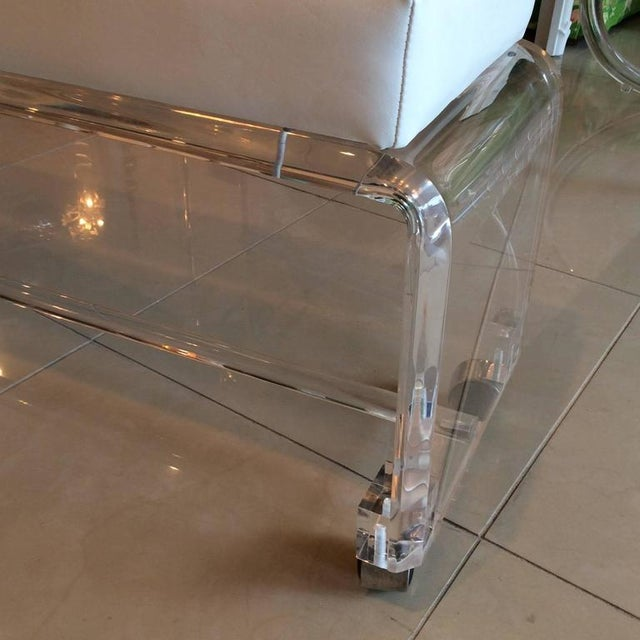 Lucite White Leather Waterfall End of Bed Bench Seat - Image 3 of 10