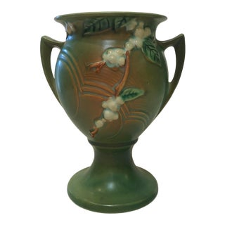 Vintage Green Roseville Pottery Snowberry Vase For Sale