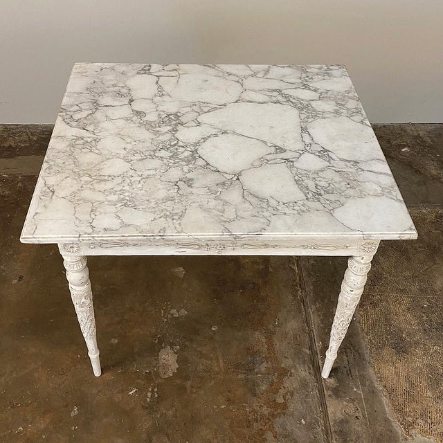 Center/End Table, 18th Century Swedish Painted With Marble Top For Sale - Image 9 of 12