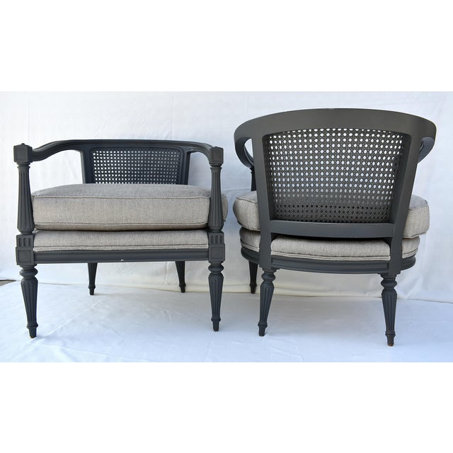 """Newly Refinished & Reupholstered with Bamboo Silk Chevron Fabric Overall: 23-1/2""""w x 23""""d x 26""""h Seat height: 17""""h Seat..."""