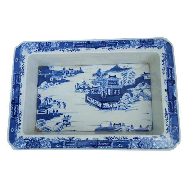 Hand Painted Blue & White Bulb Forcing Tray - Image 1 of 6