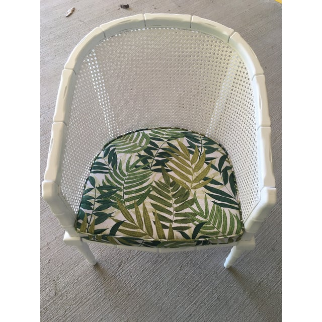 Vintage Faux Bamboo Cane Barrel Back Chair For Sale - Image 5 of 9