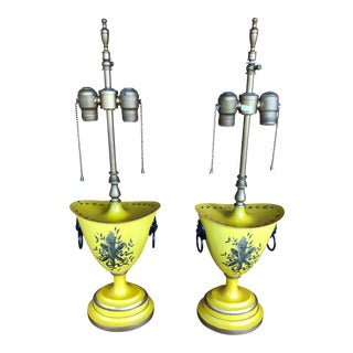 Warren Kessler Painted Metal Urn Lamps - a Pair For Sale