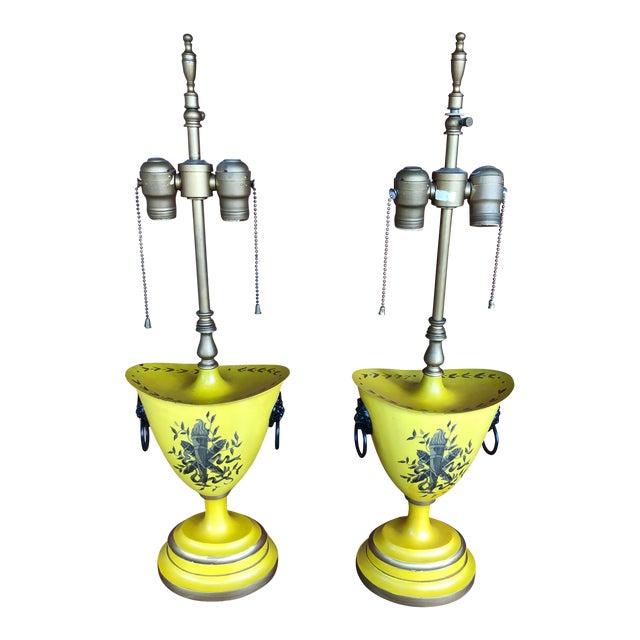 Warren Kessler Painted Metal Urn Lamps - a Pair For Sale