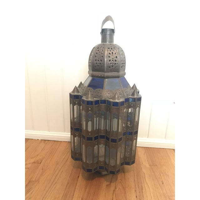 1960s Moroccan Brass and Cerulean Glass Lantern For Sale - Image 10 of 10
