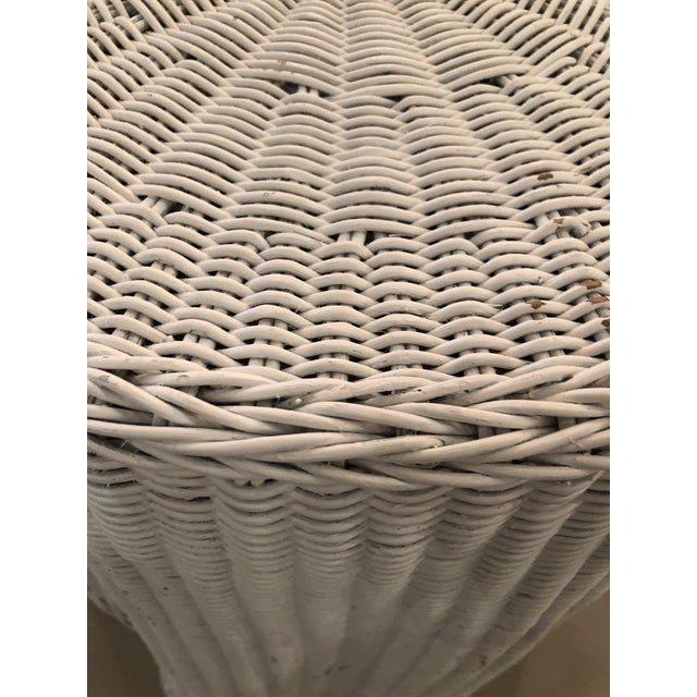 Wicker Vintage Draped Wicker Rattan Trompe L Oeil Side End Table Lacquered in Your Choice of Color For Sale - Image 7 of 9