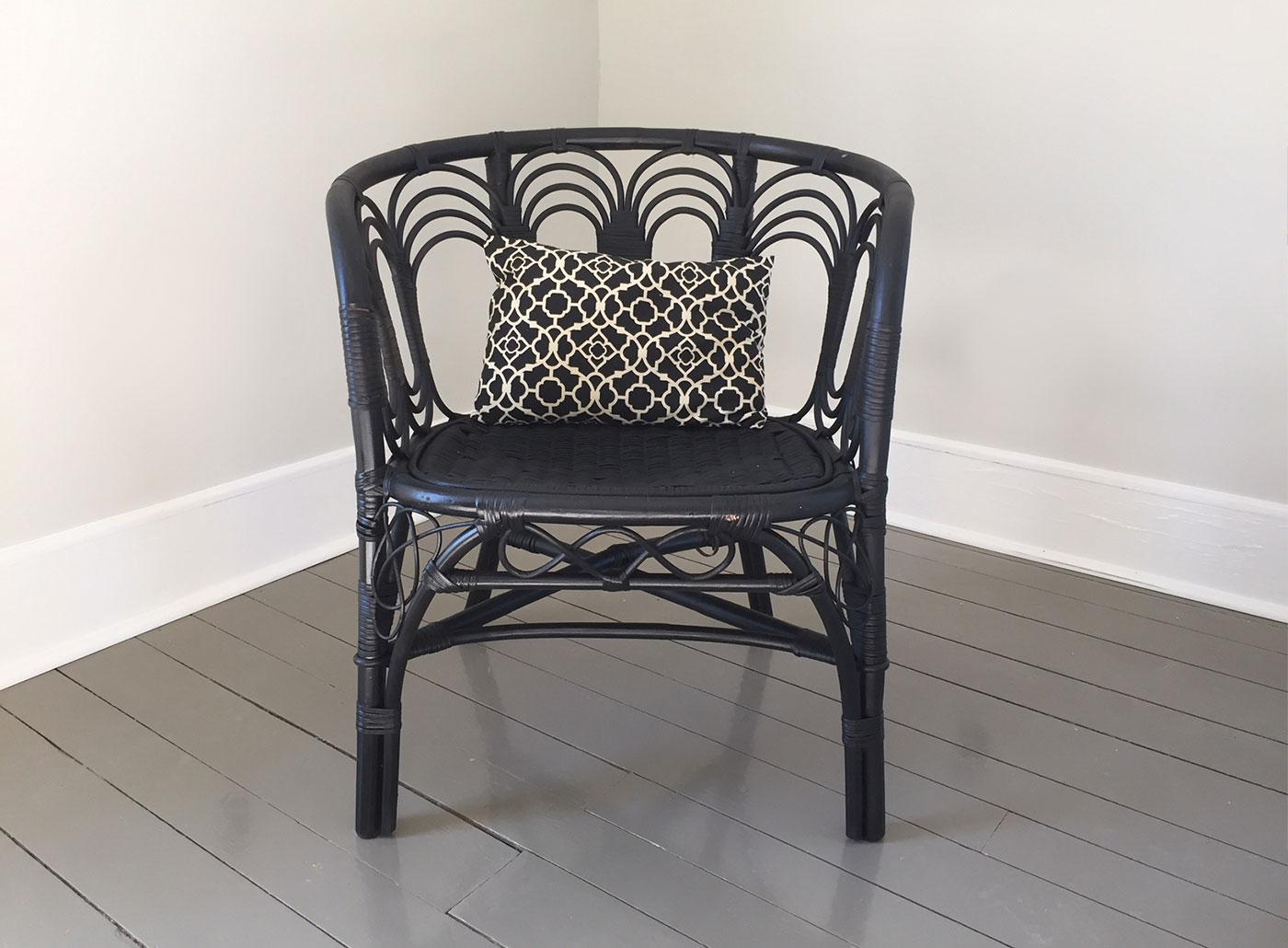 Black Wicker Rattan Vintage Barrel Chair   Image 10 Of 10