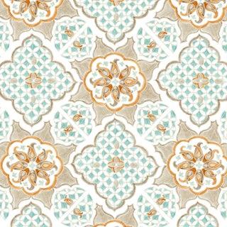 Ferran Ming Medallion Fabric, 2 Yards, Ecru in Linen/Cotton For Sale